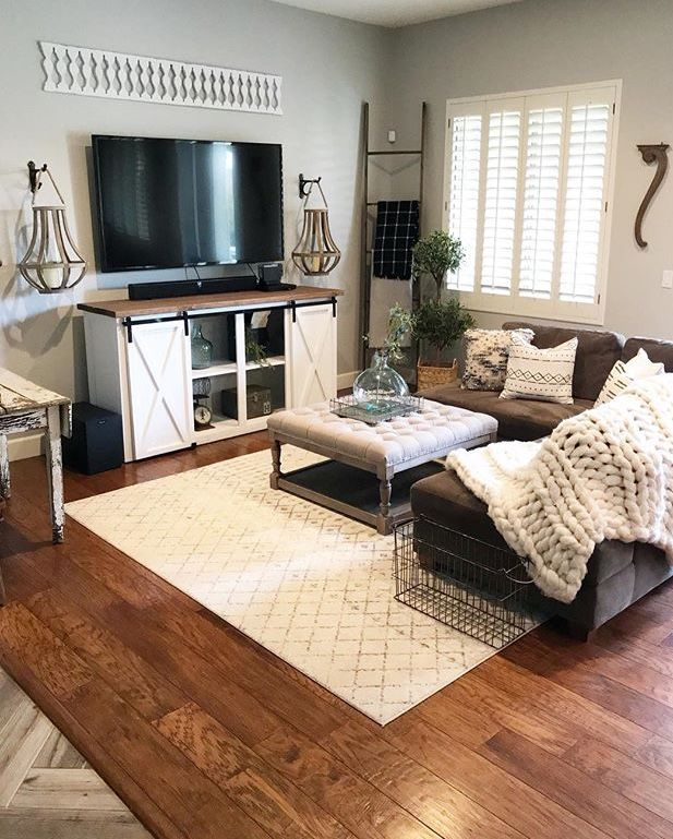 Dark Brown Couch, Farmhouse Tv Stand