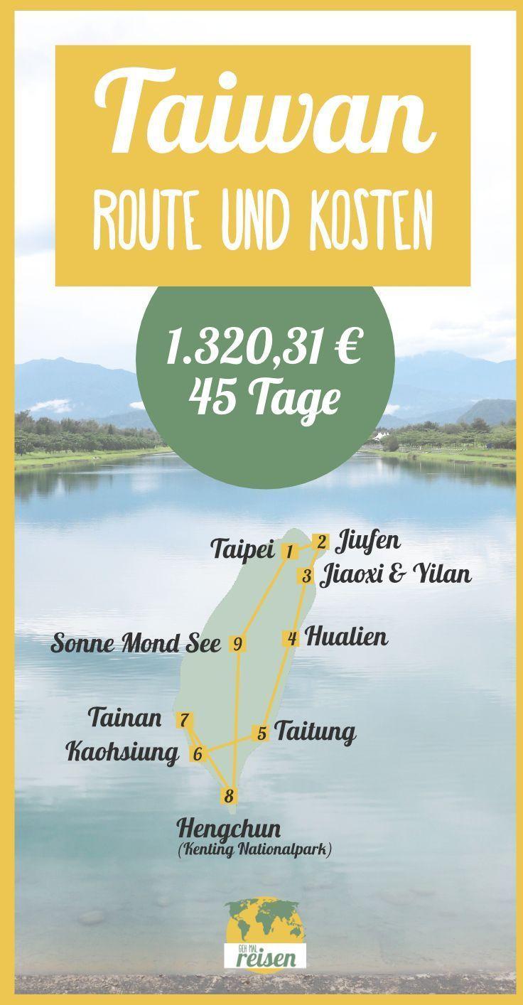 ➸ TAIWAN • Die Route auf der Karte und Kosten einer Reise!