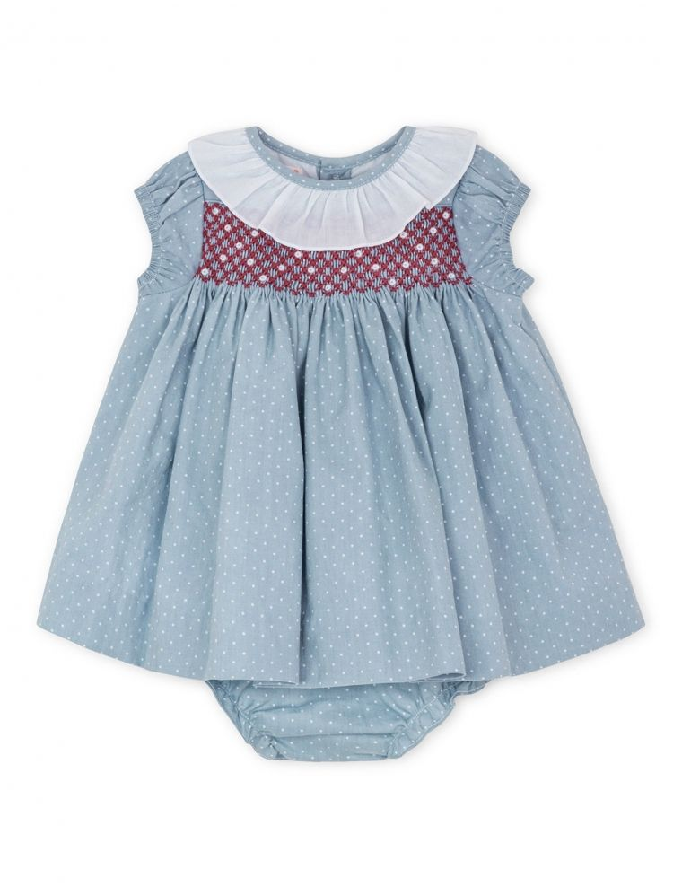 Vestido manga corta nido de abeja azul para beb ni a 3 24 meses gocco tienda oficial gocco - Marcador de ropa mine el corte ingles ...
