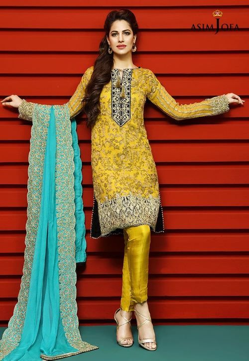 62e4c568c4 Asim Jofa 3 Piece Stitched Embroidered Luxury Chiffon Suit - AJC2-05A -  Mustard - Libasco.com #asimjofa #asimjofadresses