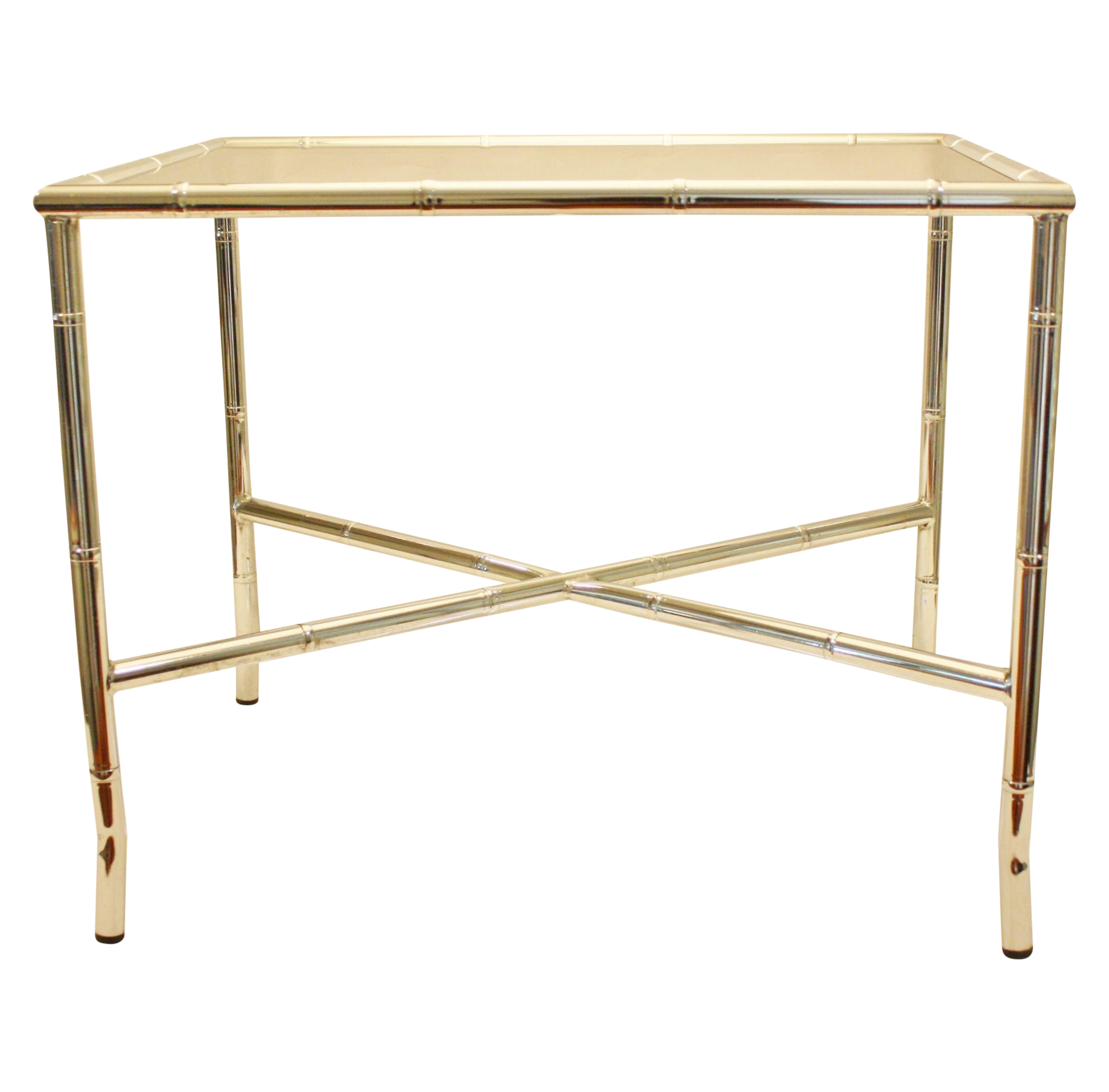 Tremendous Chrome Faux Bamboo End Table With Smoked Glass Top Project Interior Design Ideas Tzicisoteloinfo