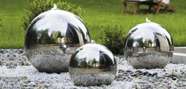 High Quality Kugelbrunnen Edelstahl Metall Glanz Effekt Abgestufte Höhen