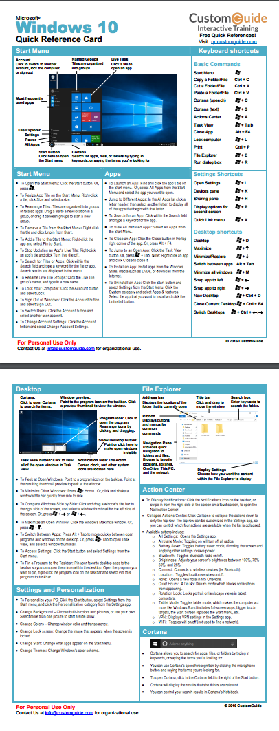 free windows 10 quick reference card http www customguide com