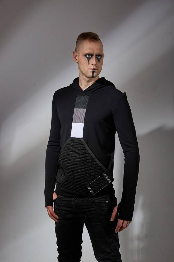 aee4c1b98e42ce Black mens hoodie with mesh pocket futuristic sweater