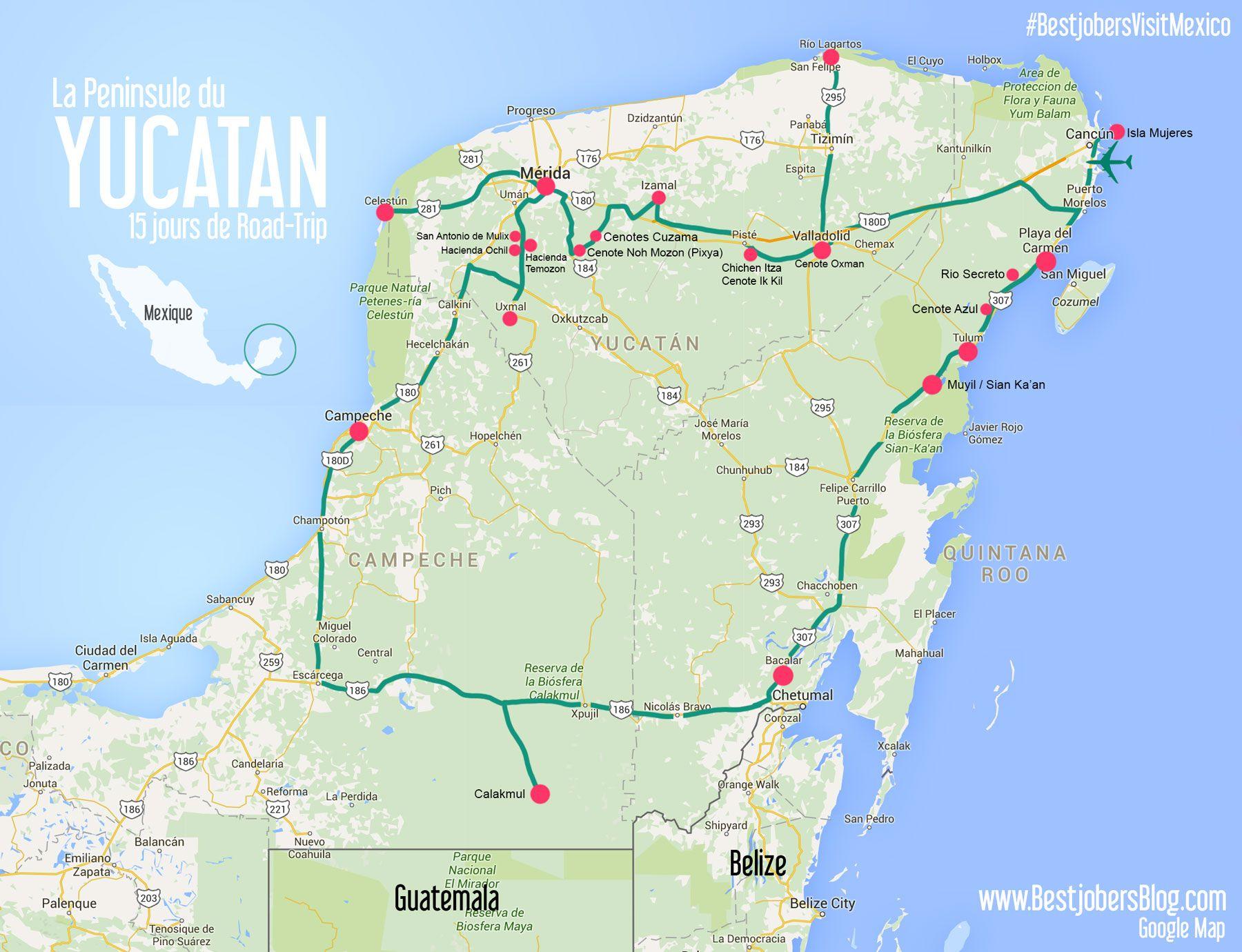 Carte Yucatan Quintana Roo.Yucatan Road Trip Map Detailed Mexico En 2019 Mexique