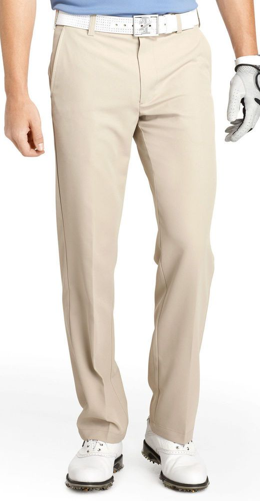 ec898238 IZOD GOLF BASIX STONEDUST GOLF PANTS SLACKS MEN'S KHAKI PERFORMANCE ...