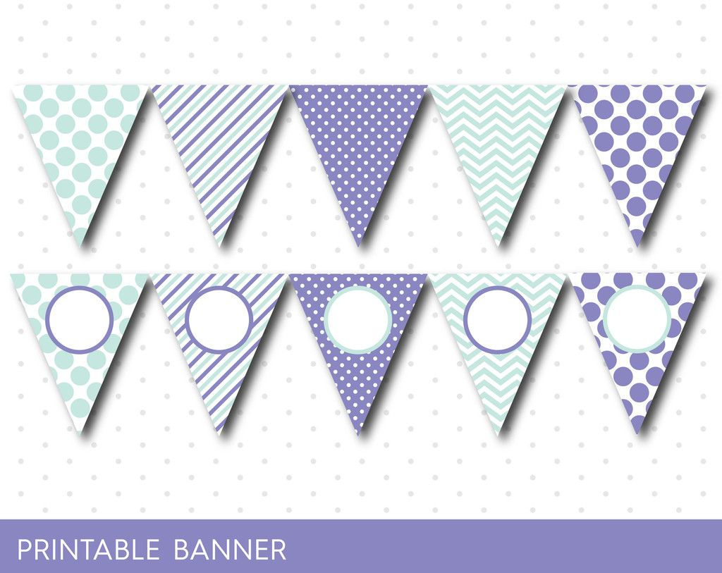 Purple Party Banner Birthday Baby Shower Blank Triangle Girl Boy PB 22