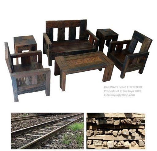 Living Room Furniture Manufacturers: KUBU KAYU Living Room Set From Reclaimed Railroad Ties