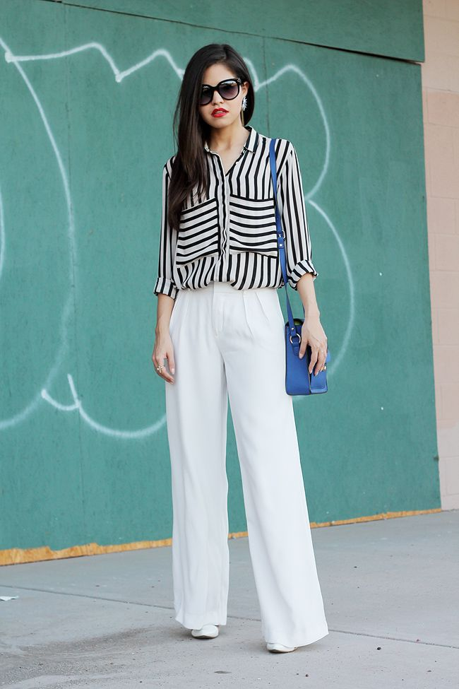 133570aa76 zara white wide trousers pants striped shirt boxy blue bag clear heels  celine sunglasses