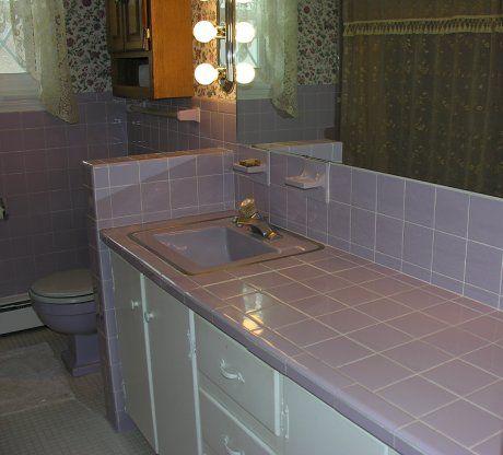 lilac bathroom: groovy baby, 1965 - retro renovation