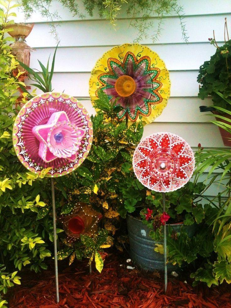 funky Dish Flowers Garden Art | Garden Decor Glass Plate Flower for Your Garden or Favorite Potted ...