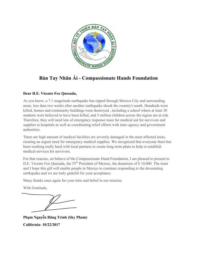 Donation Offer Letter To The Th President Of Mexico Vicente Fox