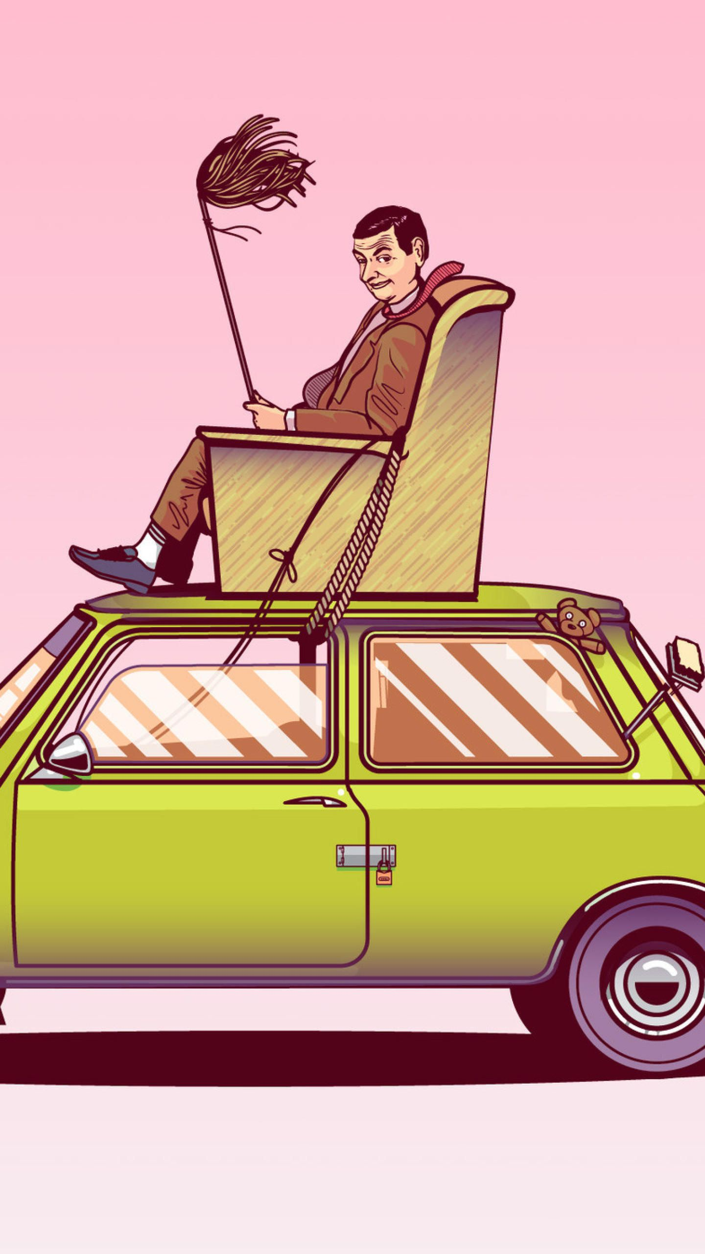Mr Bean Sitting On Top Of His Car Vector Art Hd Funny Wallpapers Photos And Pictures Funny Wallpapers Vector Art Car Vector Art