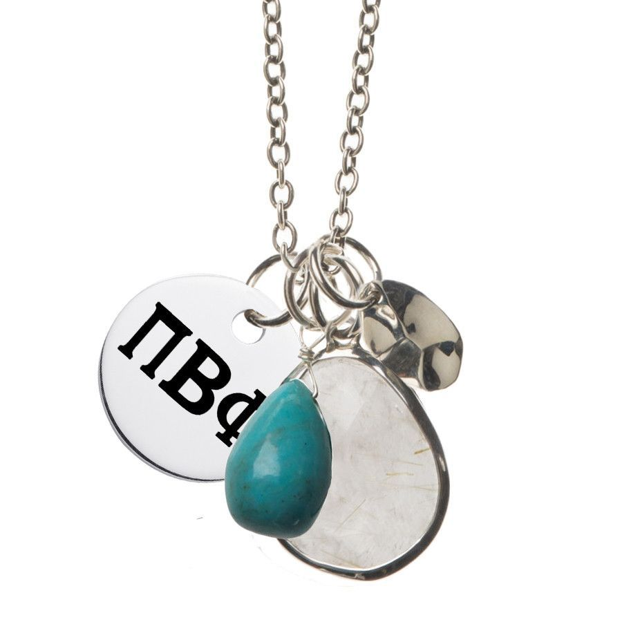 Pi Beta Phi Turquoise and Sterling Silver Drop Necklace