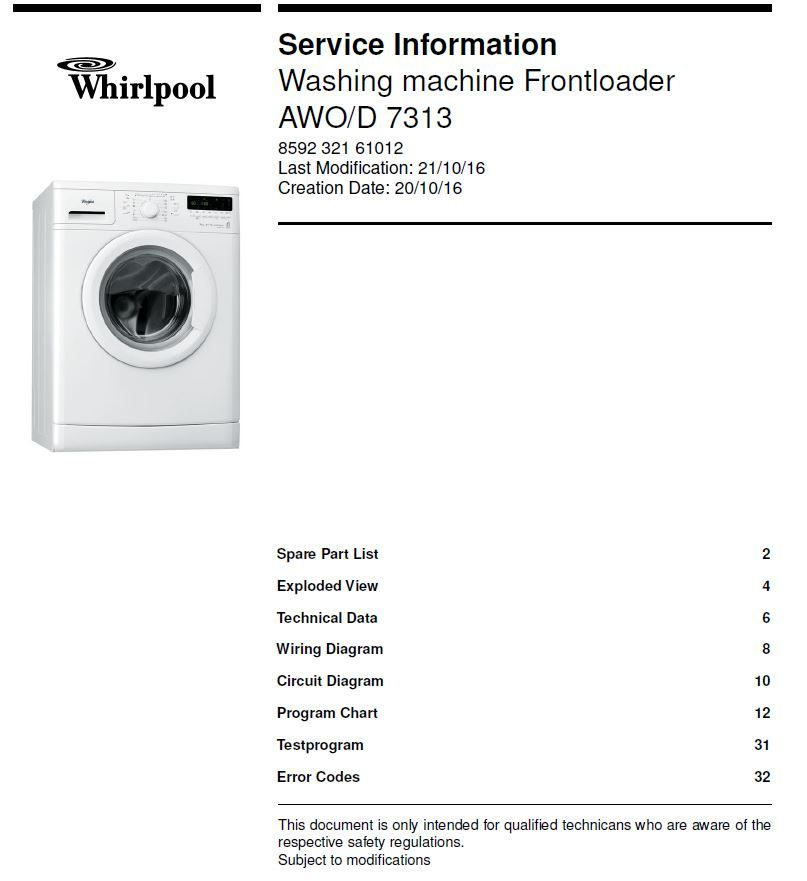 Whirlpool Awo D 7313 Washing Machine Service Info Manual Washing Machine Service Washing Machine Whirlpool