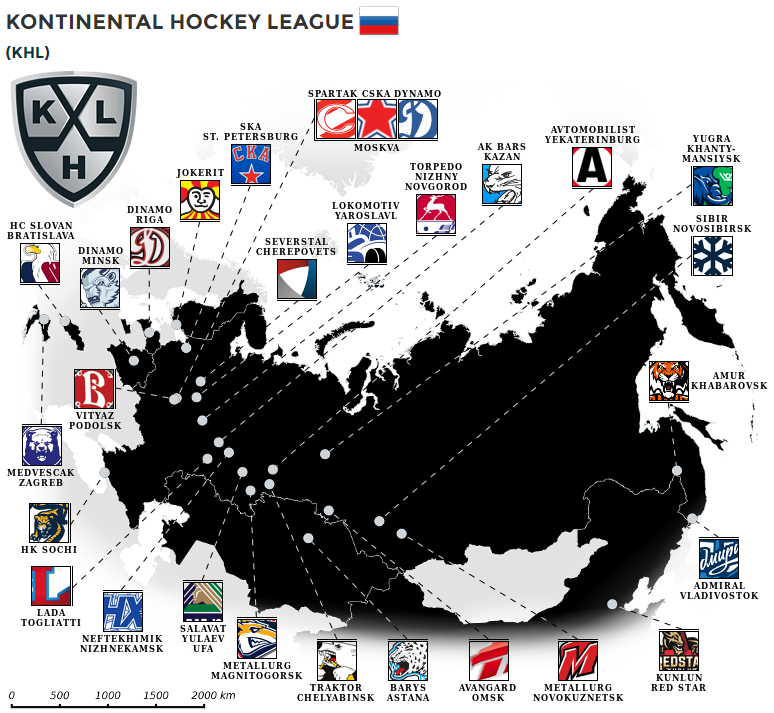 Team map of the Kontinental Hockey League #map #russia #europe #khl ...