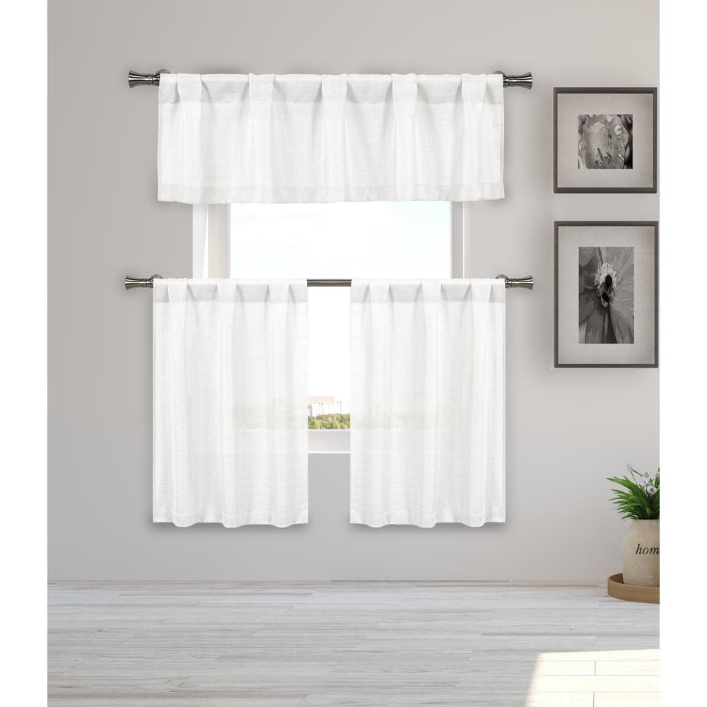 Home Maison Kealy Metallic White Kitchen Curtain Set 56 In W X 15 In L 3 Piece Kekwh 12 14173 Kitchen Curtain Sets White Kitchen Curtains Kitchen Curtains