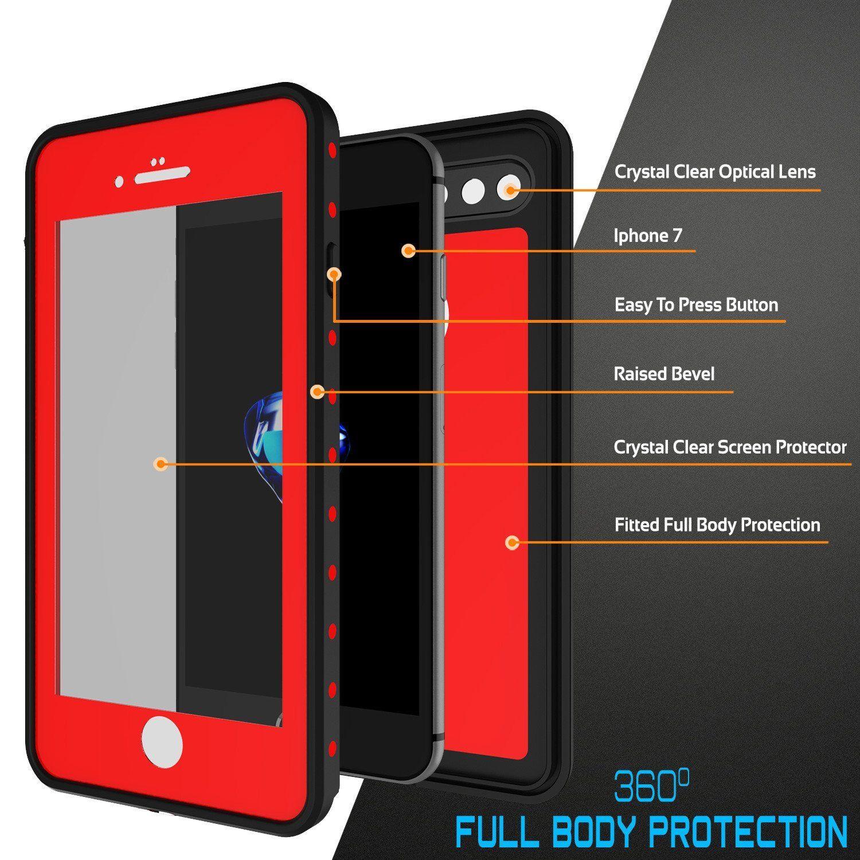 iPhone 8+ Plus Waterproof IP68 Case, Punkcase [Red