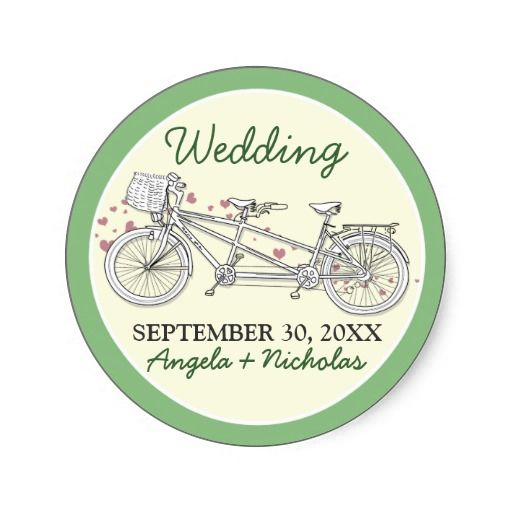 Tandem Bicycle Wedding Invitation Seal (green) #weddings #weddinginvitations #greencolorscheme