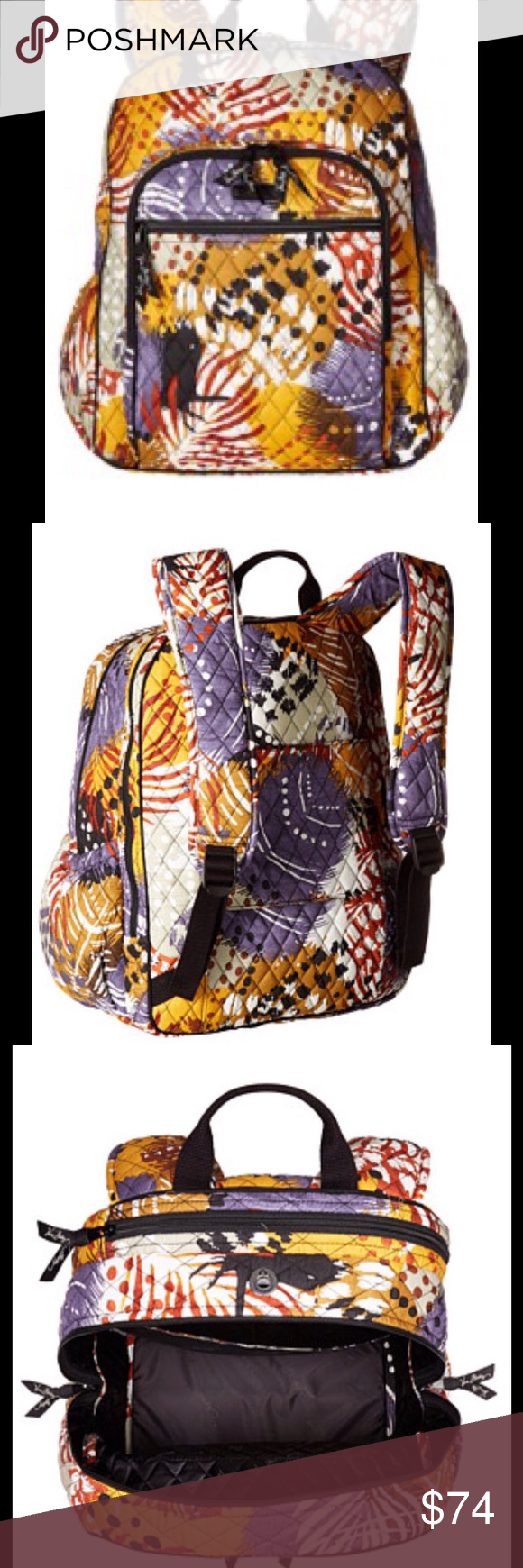 "Vera Bradley backpack Man made material. Top carrying handle with dual adjustable shoulder straps . Three exterior front zip pockets. Two exterior slip pockets . Flat bottom, lined interior . Bottom width 11"", middle width 12"", top width 11"" , depth 7.5"", height 16"", strap length 28"", strap drop 12"", handle length 8"", handle drop 3"", weight 1lb. 8oz. Vera Bradley Bags Backpacks"
