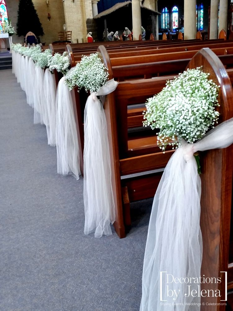 Babies Breath And Blush Tulle Wedding Ceremony Pew End Decorations. Our  Lady Of Victories In