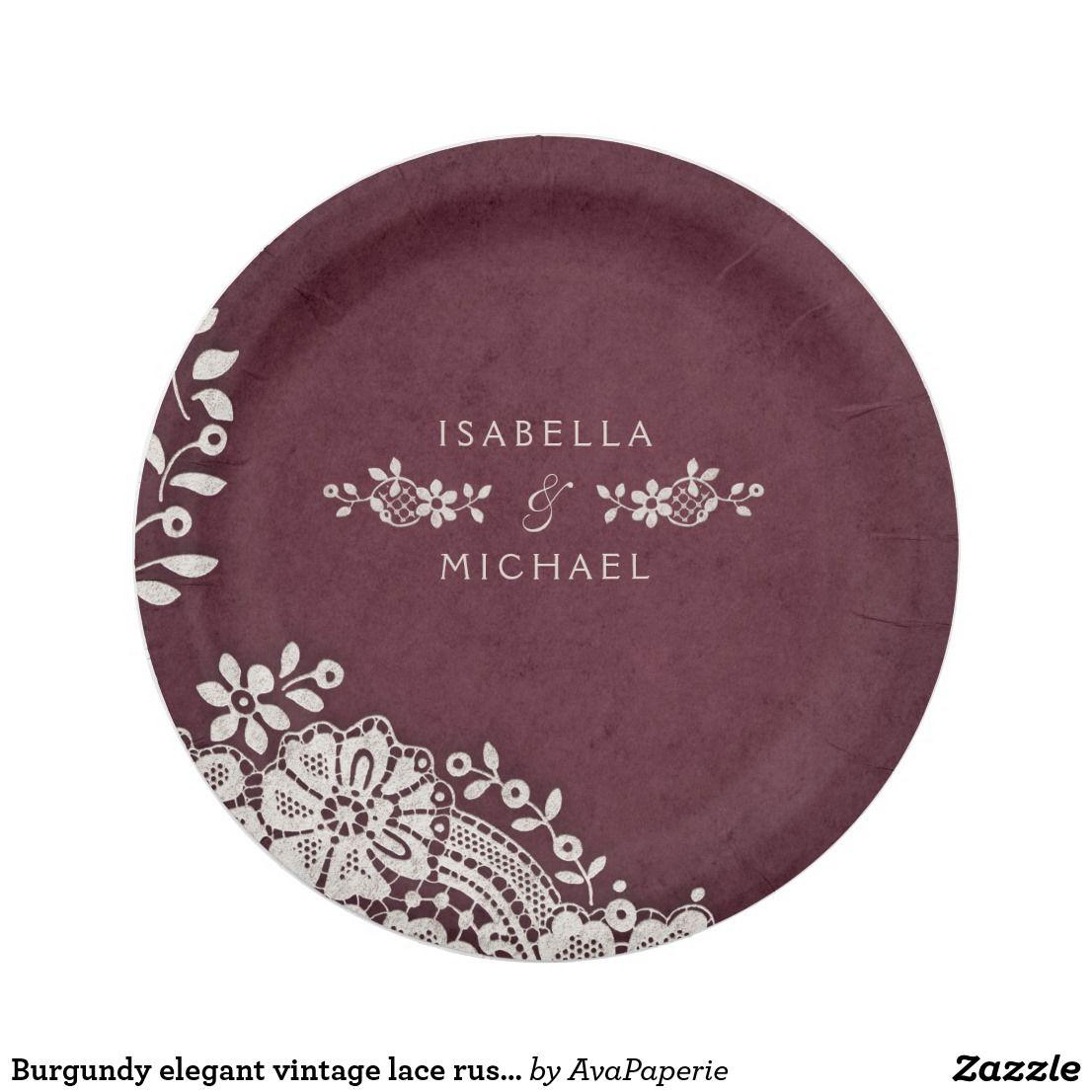 Burgundy elegant vintage lace rustic wedding paper plate | Wedding ...