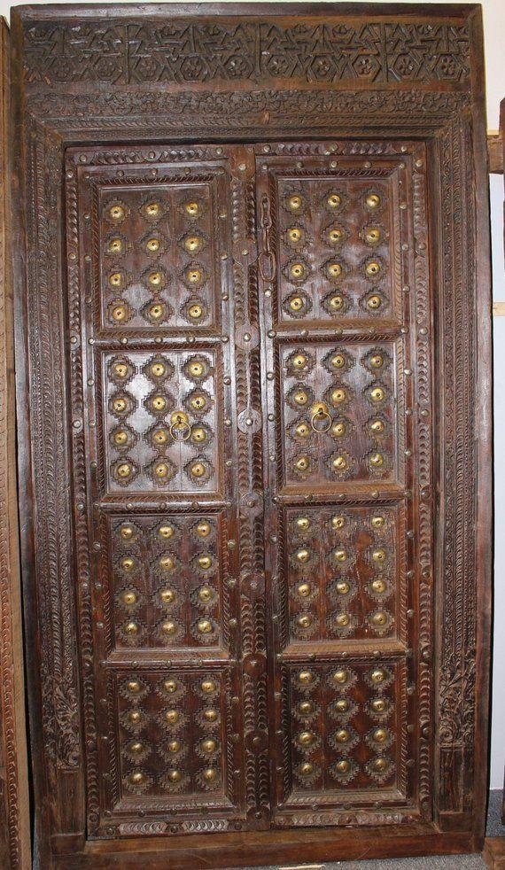 Blog Teak Wood Main Door Design In India: Antique Solid Wooden Haveli Door Dark Brown Teak Wood