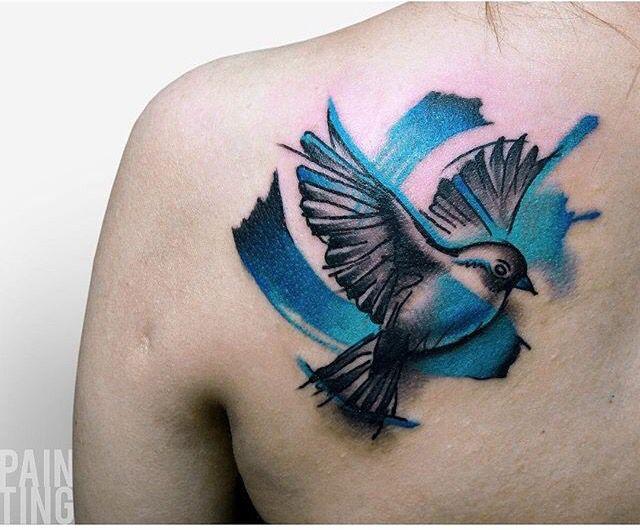 Szymon Gdowicz pain ting bird tattoo