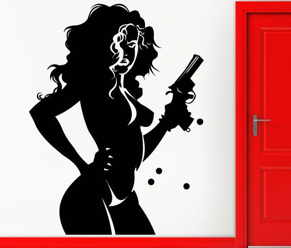 Wall Stickers Vinyl Decal Gangster Sexy Girl With Gun
