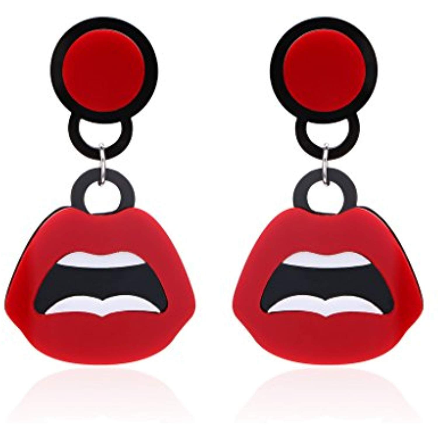 Red Lips Fun Kiss Stud Earrings Novelty Jewelry For Girl And Women