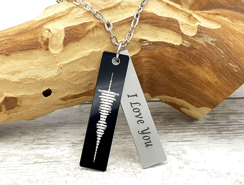 Custom Voice Recording Soundwave Necklace, Engraved Voice