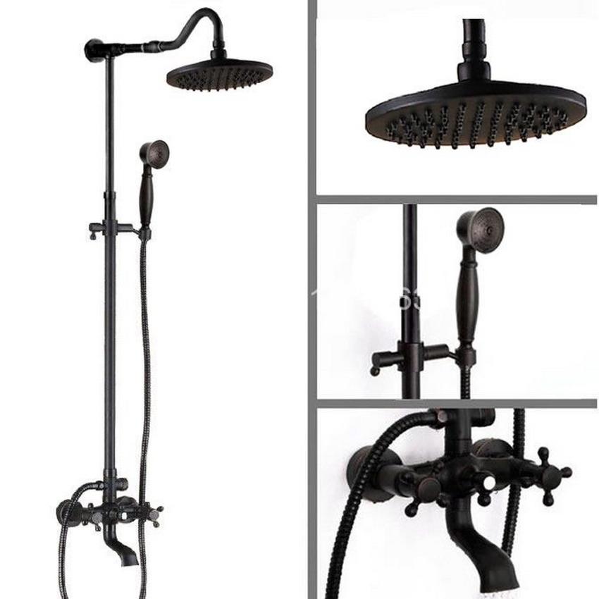 138.59$ Know more - Luxury Bathroom Rain Shower Faucet Set Black Oil ...