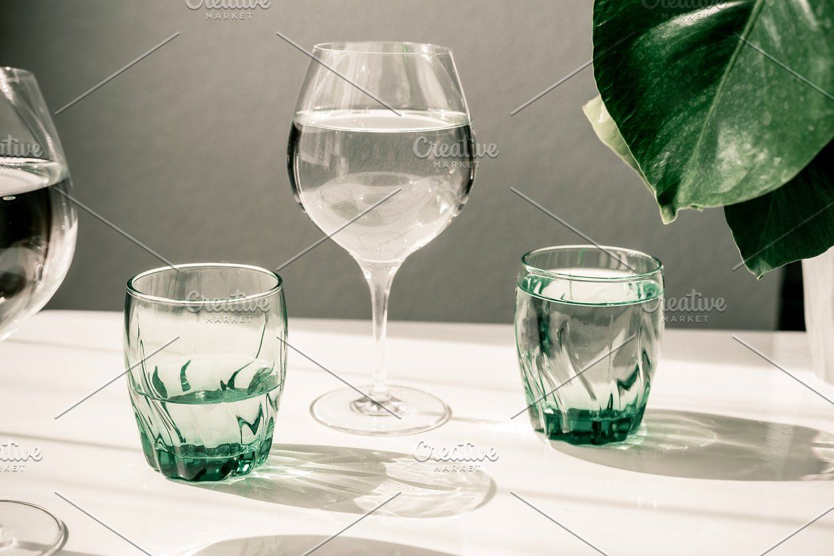 Photo of Glasses of water on white table. Har #Sponsored , #AD, #glasses#light#Clean#shad…