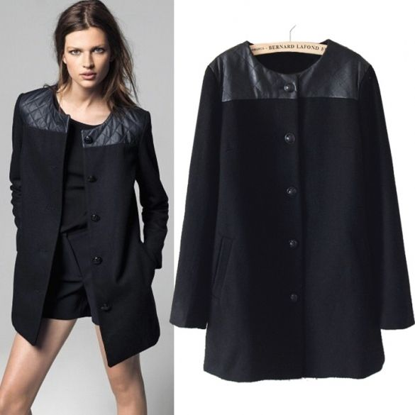 a52721dfa2b Korean Women Woolen PU Single-breasted Loose Outwear Coat Long Jacket  Polyester