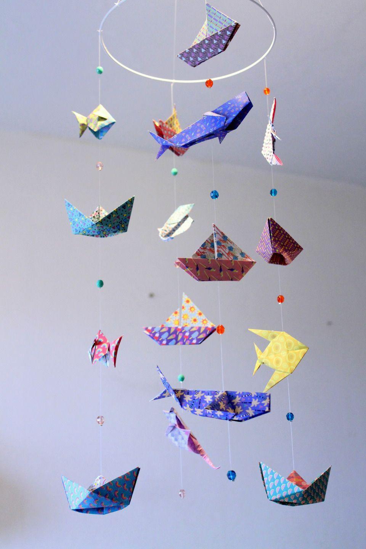 Mobile Bebe Origami Animaux Marins Mer Et Ocean