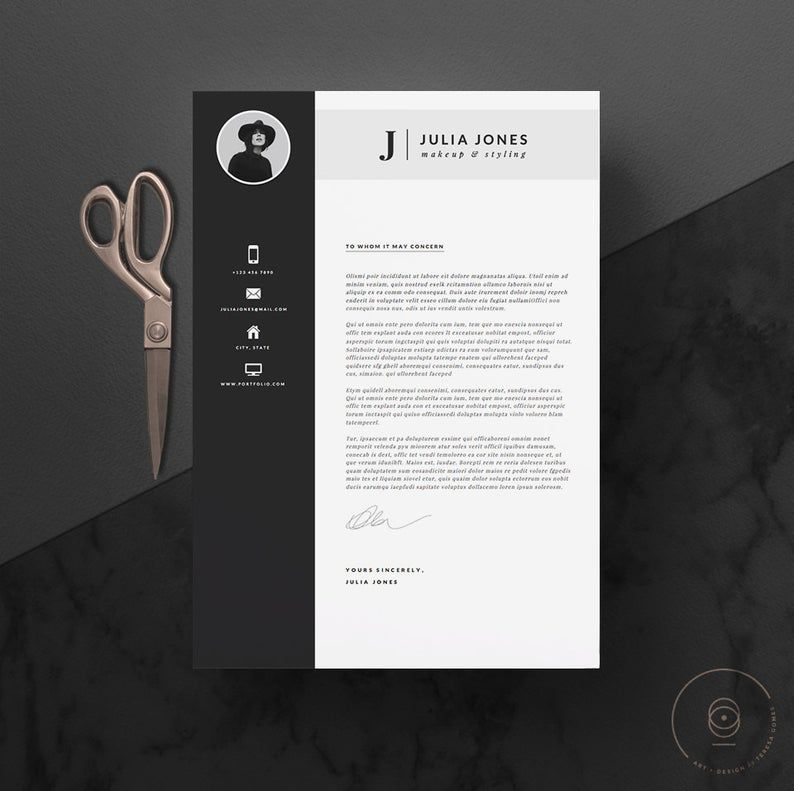 Professional Resume Template & Cover Letter + Icon Set for