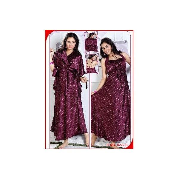 f6e08548aa Gemini Halter Type Satin Printed Nighty with Short Housecoat via Polyvore