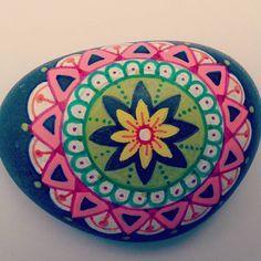 """Small 2"""" #mandala #rock #mandalarock #paintedrock #paintedpebbles #handpainted #yoga #meditation"""
