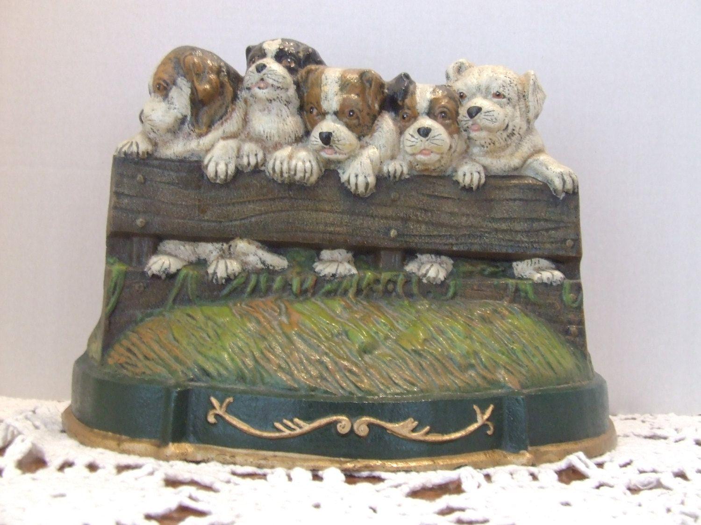 Puppy Cast Iron Door Stop Vintage Cast Iron Door Stop Puppies On