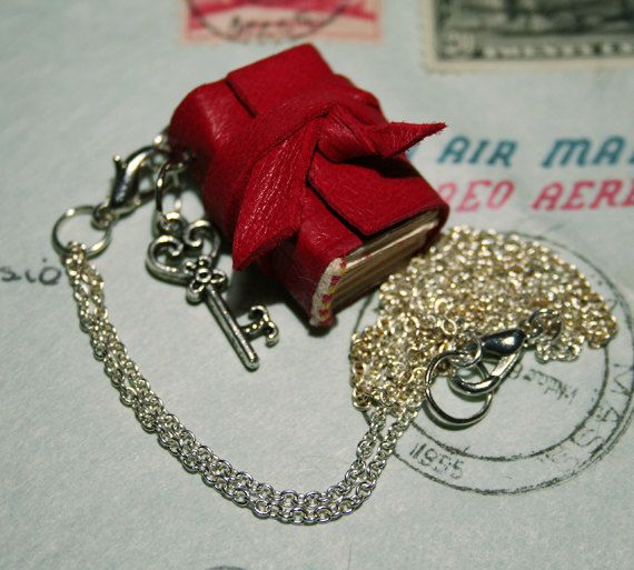 Red Leather Book Mini Book Necklace Mini Handbound by ABoundBook