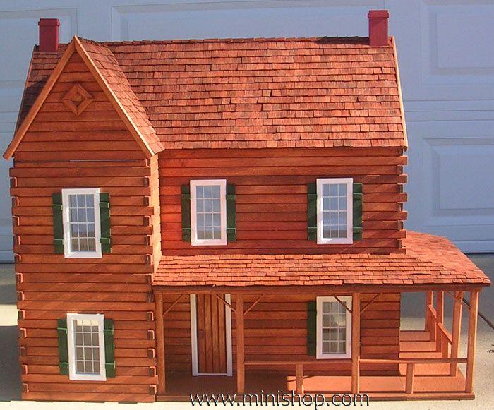 Ponderosa Log Doll House Kit, w/Logs - Miniature Log Home