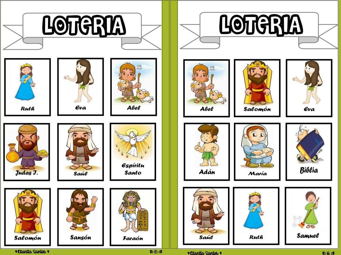 Loteria Personajes Biblicos Personajes Biblicos Loterias Para Niños Juegos De Iglesia Para Niños