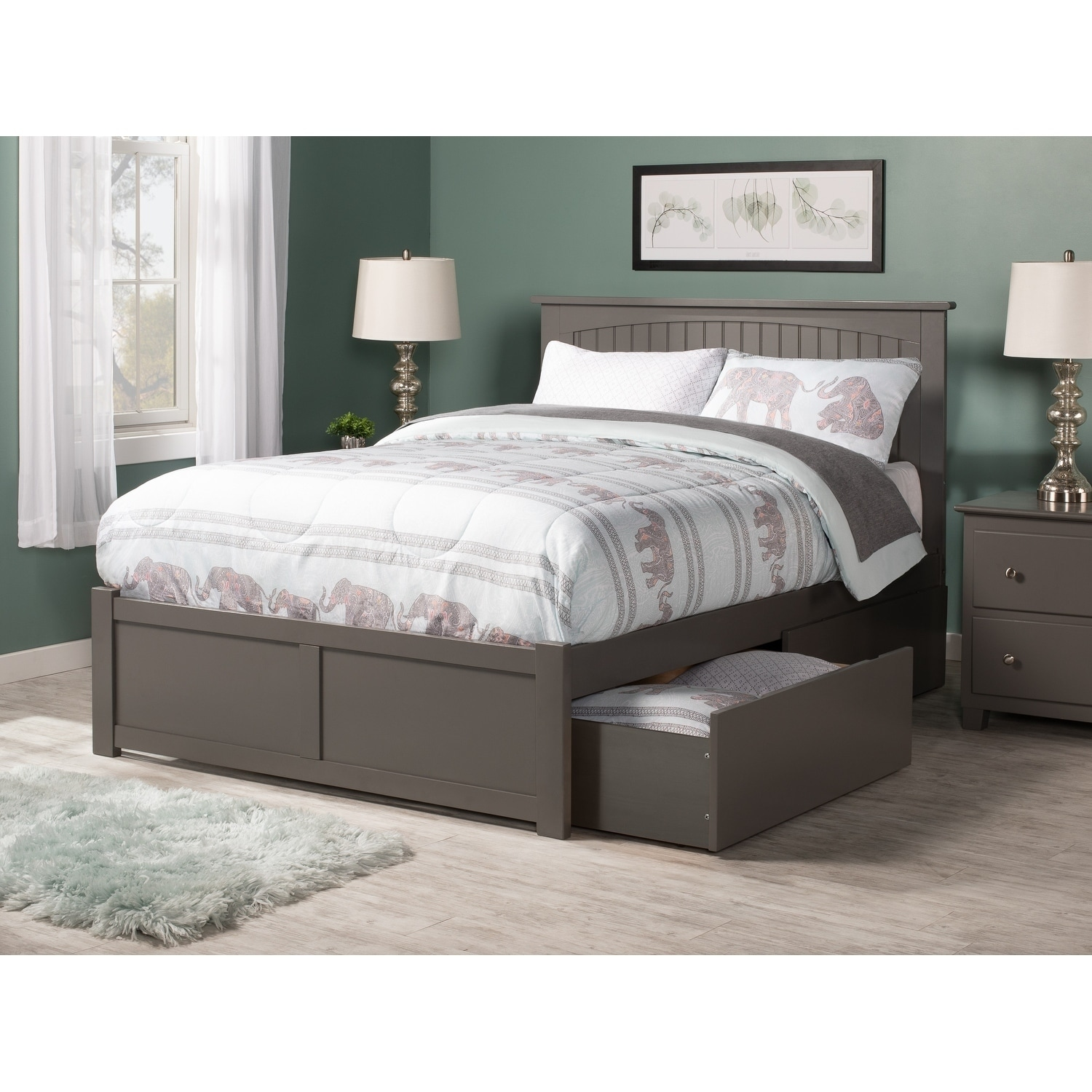 Nantucket Full Platform Bed with Flat Panel Foot Board and