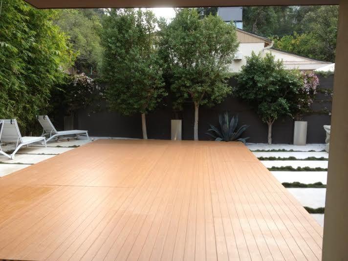 Pool Cover With Wood Flooring Sherman Oaks Dance Floor Pool Pool Cover Vinyl Wood Flooring Wood Floors
