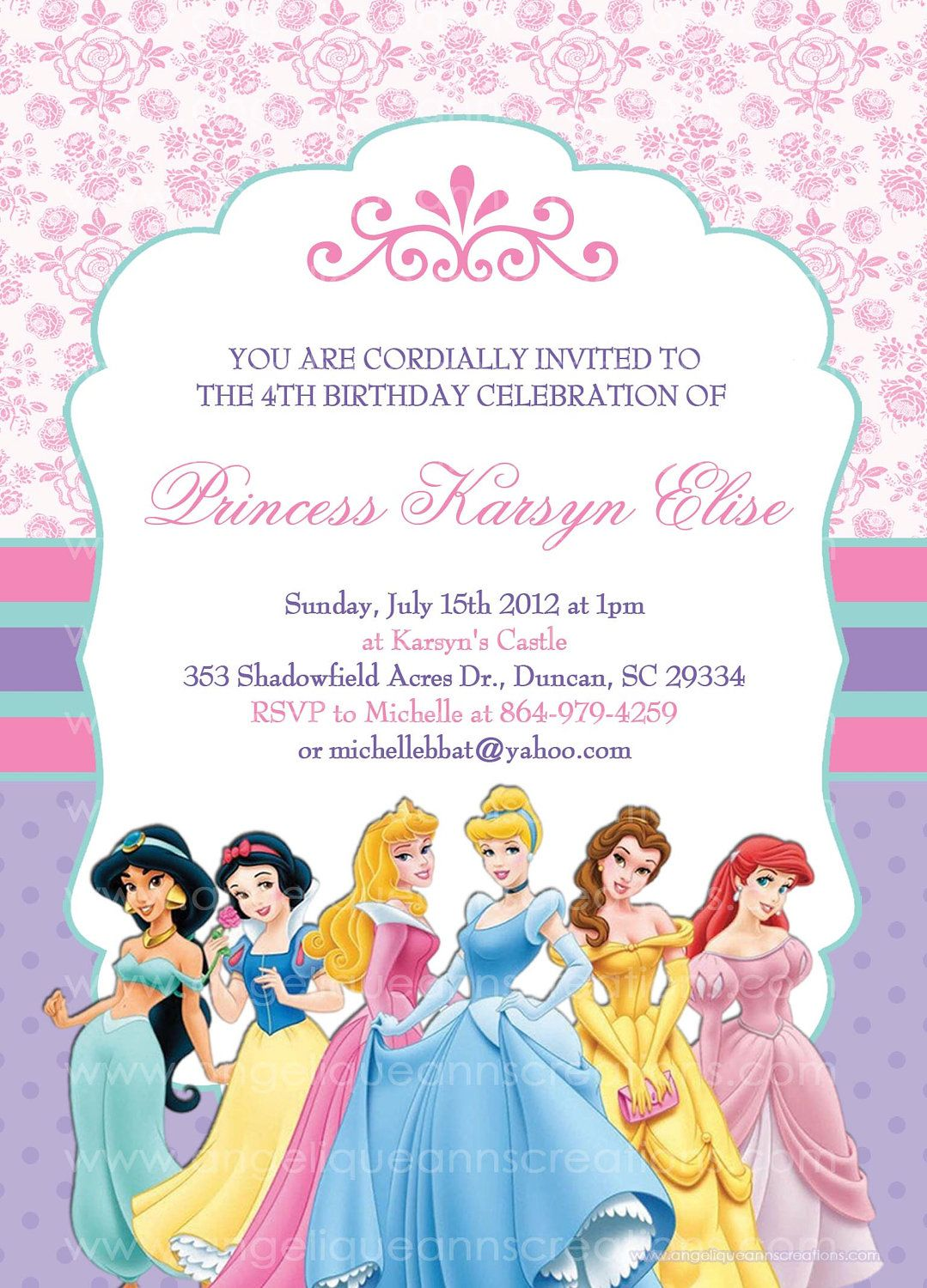 Disney Princess Girls Birthday Party Invitations By Jayarmada 1399