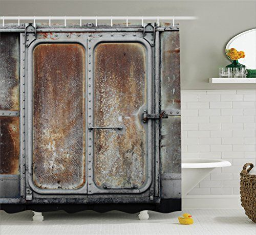 Industrial Decor Shower Curtain Set By Ambesonne Vintage Railway