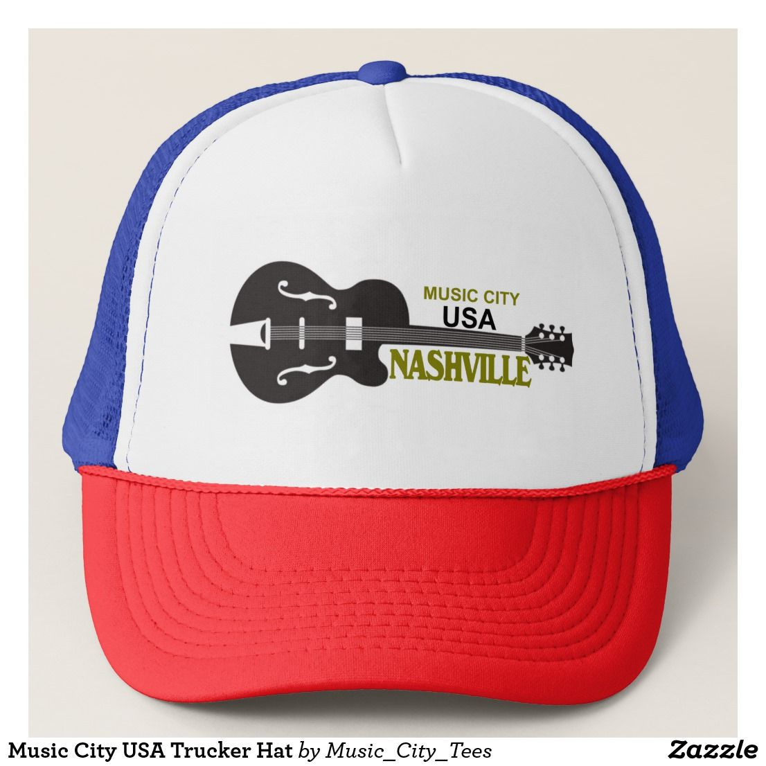Music City Usa Trucker Hat Zazzle Com With Images Trucker Hat Hats Custom Made Hats