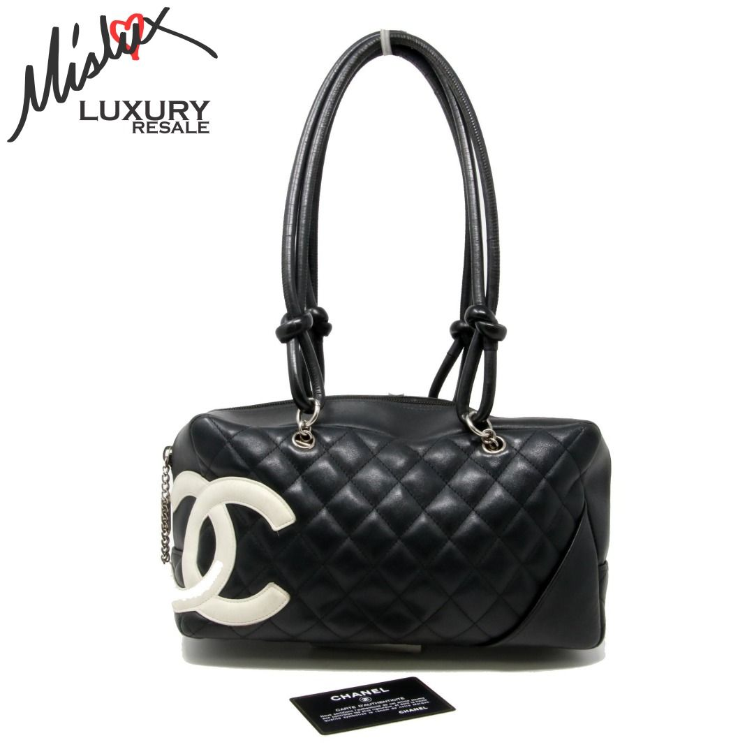 Chanel Cambon Classic Cc Diamond Quilted Ligne Mini Bowling Black Calfskin  Leather  lv  chanel  versace  gucci  downey  louisvuitton  handbag   givenchy ... 4b3391bc723ee