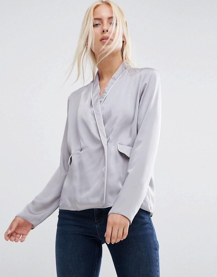 ASOS Satin Wrap Front Pajama Blouse at asos.com