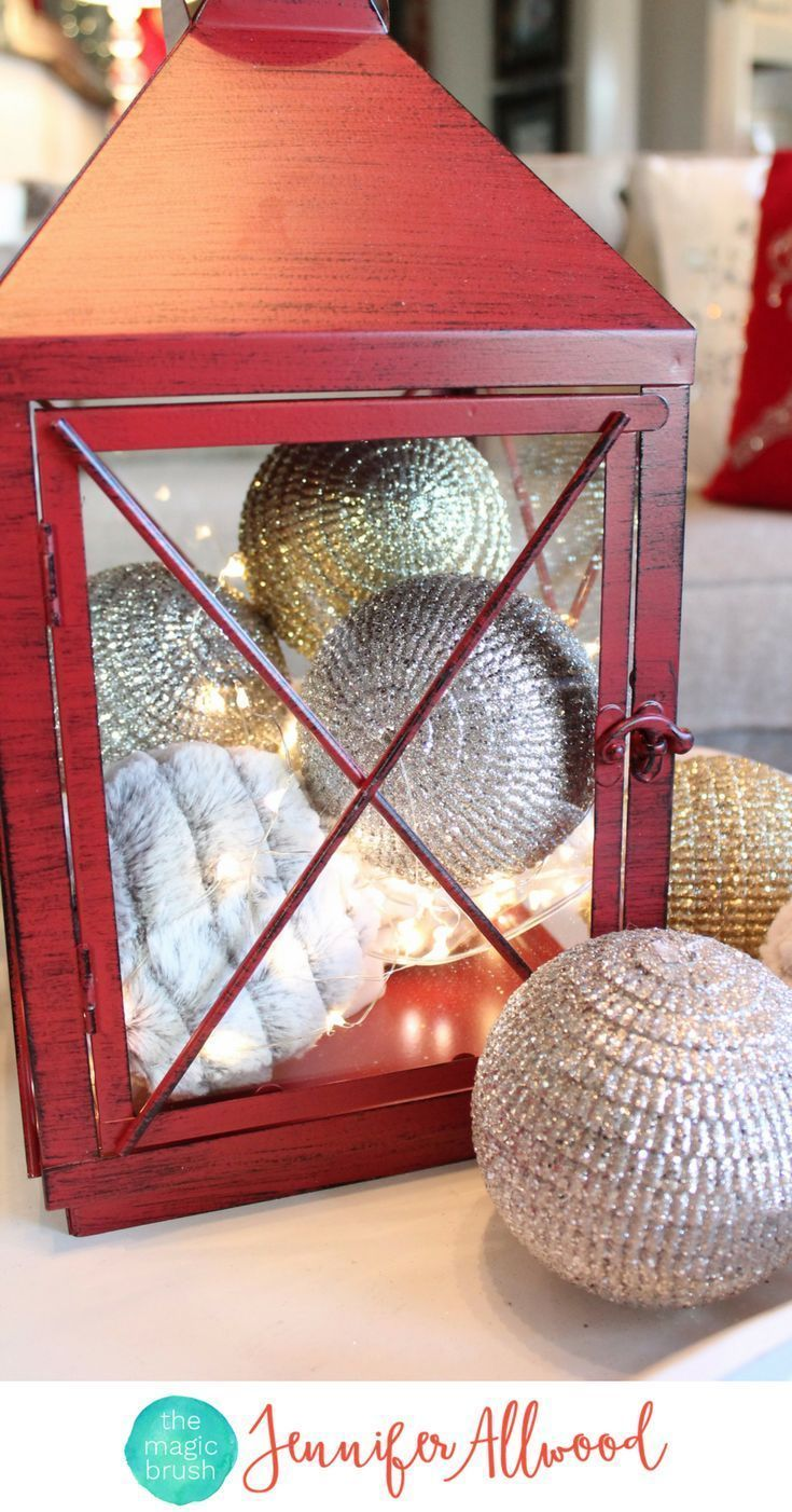 Ideas : Red Lantern and Christmas Ornaments - Living Room Christmas Decorations by Pier 1 | Magic Brush | Red Holiday Decorations by Pier 1 #diy #diyhomedecor #holiday #christmas #home #christmasdecor #holidaydecor